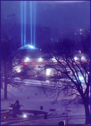 Steeple of Light in the Snow @ Christmas time
